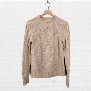 J. Crew Cable Knit Roll Neck Beaded Sweater